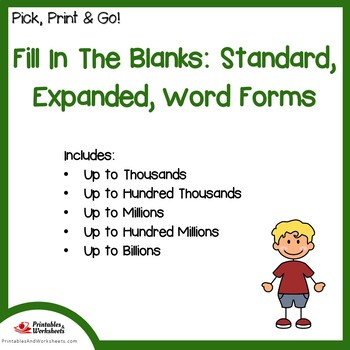 Fill In The Blanks - Standard Form, Expanded Form, Word Form