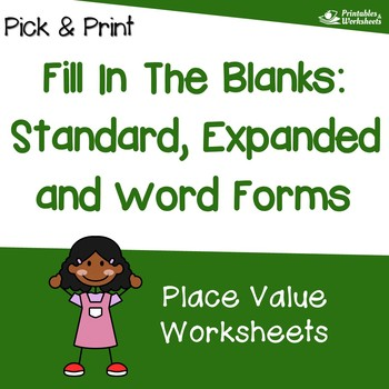 Standard Form, Expanded Form, Written Form of Numbers Worksheets