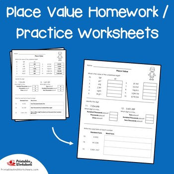 Place Value Homework Sheets, Place Value Practice 4th Grade, 3rd, 5th Grade