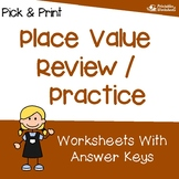 Basic Place Value Review 3rd Grade, 4th, 5th Grade Place Value Math Worksheets