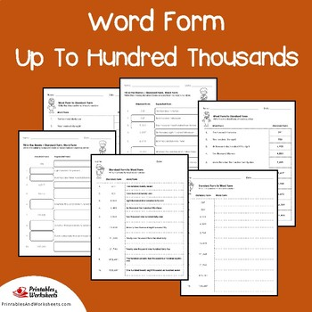 Place Value Word Form To Hundred Thousands