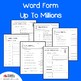 Numbers and Word Names Place Value up to One Million Place Worksheets