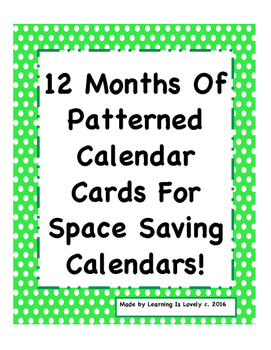 365 Days of Patterned Calendar Cards For Space Saving Calendars-A Bundled Set!