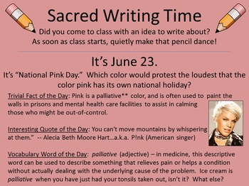 366 Sacred Writing Time Slides -- For Writer's Notebooks & Journals