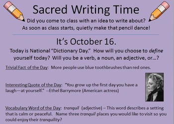 366 Sacred Writing Time Slides -- For Writer's Notebooks & Journals