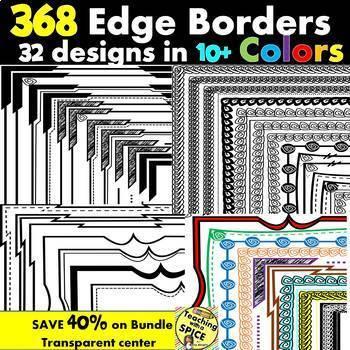 368 Borders Mega Color Border Clip Art   40% Off BUNDLE