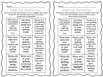 37 Completely-Editable Spelling and Word Work Tic-Tac-Toe Activity Sheets
