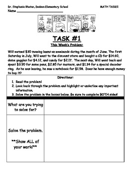 37 MATH TASKS for COMMON CORE
