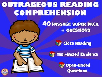 40 Reading Comprehension Passage SUPER PACK: Text Evidence