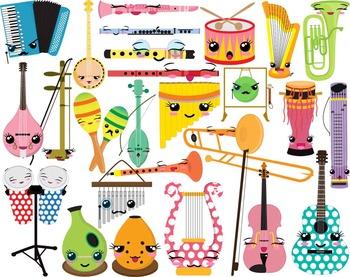 37 PNG/JPG Kawaii Musical Instruments ClipArt- Digital Cli