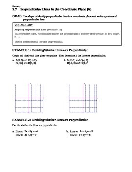 3.7 Perpendicular Lines in the Coordinate Plane (A)