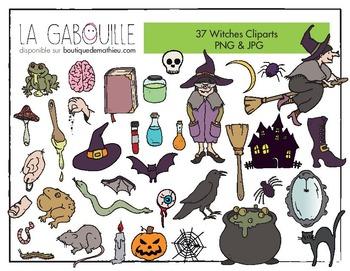 37 cliparts de sorcières (+ ingrédients) HALLOWEEN