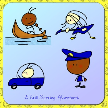 38 Clip Art Stick Figures in Fun Activities