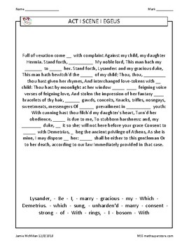 38 Cloze Exercises William Shakespeare's Midsummer Night's Dream (Book One)