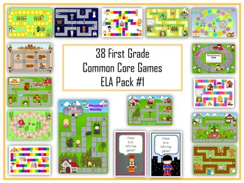 38 ELA First Grade Folder Games - Common Core Pack #1 -  Word Work Centers!