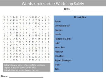 380 Design Technology Wood-shop & Food Starter Activities Wordsearch Settlers