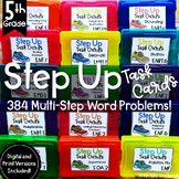 Multi Step Math Word Problems 5th Grade |   Task Cards | Spiral Review