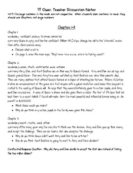 39 Clues Summary Teacher Notes