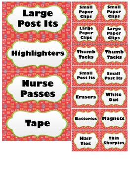 39 Drawer Toolkit Labels - Red Multi-color dots