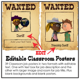 39 Editable Western Class Jobs PDF Posters, Cowboy and Cow
