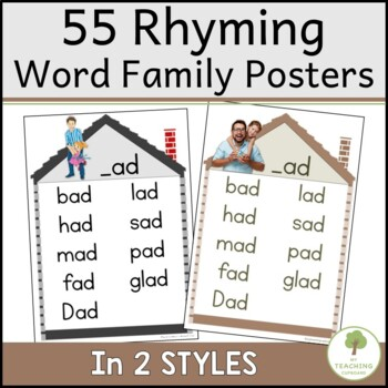 39 rhyming word family charts by my teaching cupboard tpt. Black Bedroom Furniture Sets. Home Design Ideas