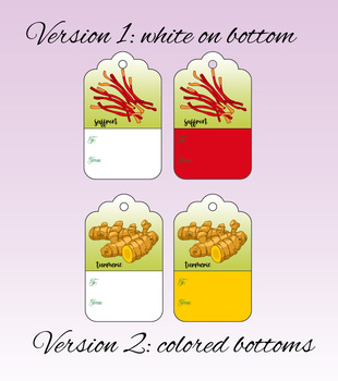 39 Spice Printable Gift Tags, Printable Tags, Instant Download, Digital Download