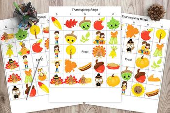 39 Thanksgiving Bingo Cards - Thanksgiving picture bingo classroom set