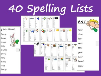 40 Weekly Spelling lists and phonics sounds
