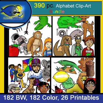 "390 Pc. BUNDLE: ALL Initial ""A-Z"" Kinder Clip-Art & WS! BW, Color"