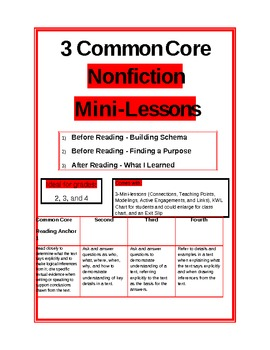 3Common Core Nonfiction Mini-Lessons with KWL and Exit Slip
