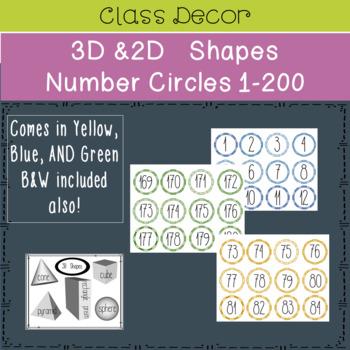 Classroom Decor 3D 2D Shapes and Number Circles 1-200