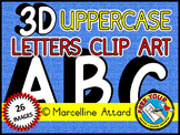 3D ALPHABET CLIPART: UPPER CASE LETTERS A TO Z: 3D CLIPART