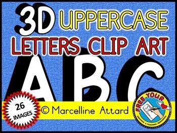 3D ALPHABET CLIPART: UPPER CASE LETTERS A TO Z: 3D CLIPART