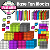 3D Base Ten Blocks- Rainbow Colors