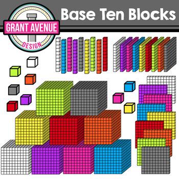 3D Base Ten Blocks- Rainbow Colors
