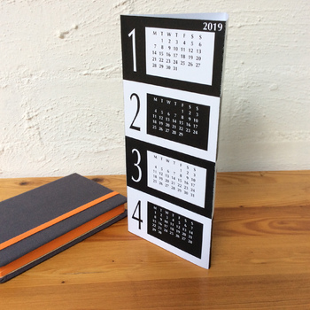 3D Black and White 2018 Triangle Desk Calendar - Printable PDF