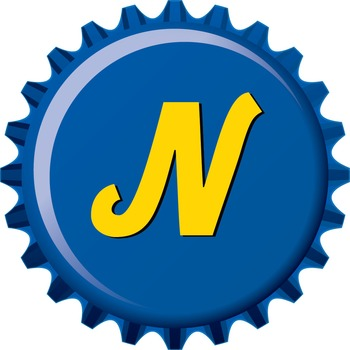3D Bottle Cap Alphabet - Upper and Lower Case - Blue and Gold, PNGs and PDF