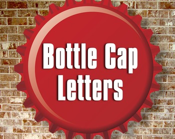 3D Bottle Cap Alphabet - Upper and Lower Case - Red and White, PNGs and PDF