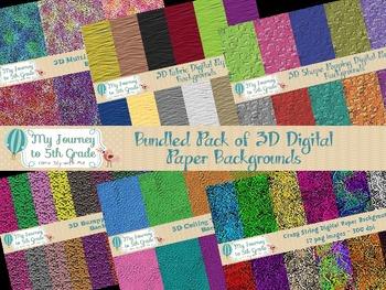 3D Bundled Pack of Digital Paper Backgrounds
