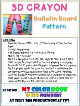 3D CRAYON Bulletin Board Display Freebie