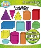 3D Colorful Shapes / Geometric Solids Clipart {Zip-A-Dee-D