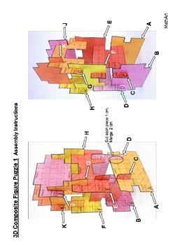 3D Composite / Irregular Shape Array Puzzle, Perimeter & Area Combine Rectangles