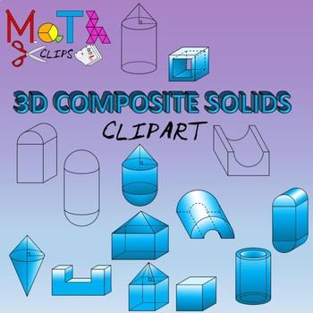 3D Composite Solids Geometry Clipart Compound Shapes