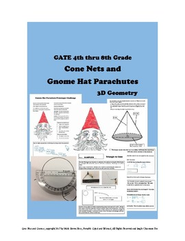 3D Cone Nets and Gnome Hat Parachutes Geometry STEAM for GATE and Middle School