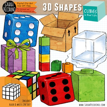 3d cubes in real life clip art by sarah pecorino illustration tpt. Black Bedroom Furniture Sets. Home Design Ideas
