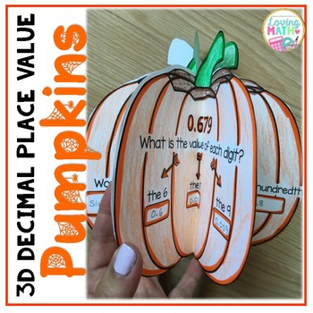3D Decimal Place Value Craft - Fall and Halloween Math