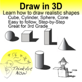 Art Lesson - 3D Drawing - Cube, Cylinder, Sphere, Cone and more