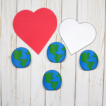Earth Day Craft - 3D Earth On Heart
