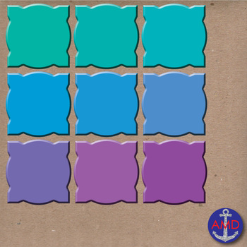 3D Fancy Sculpted Square Frames & Labels in 36 Bright Colors