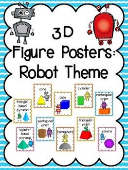 3D Shapes (3D Figure) Posters: Robot Theme